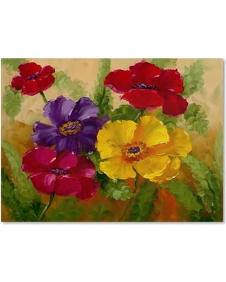 """Winston Porter 'Flowers' Painting Print on Wrapped Canvas WNST5787 Size: 24"""" H x 32"""" W x 2"""" D"""