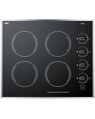 """Summit Appliance Summit 24"""" ElectricRadiant Cooktop with 4 Burners CR424BL / CR424WH Color: Black"""