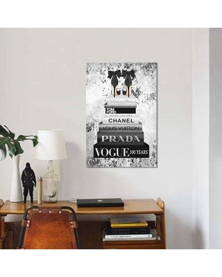 """East Urban Home 'Bookstack Metallic Silver' Graphic Art Print on Canvas EBHS2943 Size: 18"""" H x 12"""" W x 1.5"""" D"""