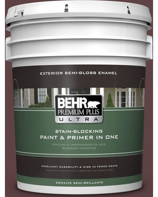 BEHR Premium Plus Ultra 5 gal. #S-G-700 Wild Raisin Semi-Gloss Enamel Exterior Paint and Primer in One