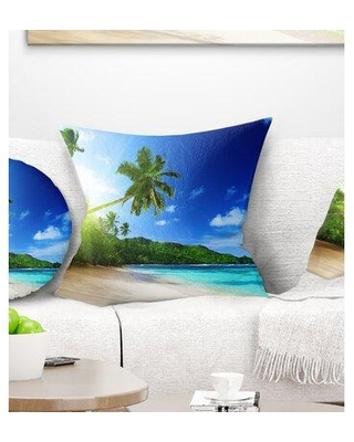 East Urban Home Landscape Sunset Beach w/ Palm Photography Pillow, Product Type: Throw Pillow, Polyester/Polyfill/Polyester/Polyester blend   Wayfair