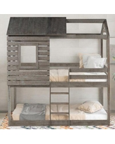 Twin over Twin Standard Bunk Bed by Harper Orchard Wood in Gray, Size 41.0 W x 78.0 D in | Wayfair BB528946588547F9AB7D8FACA9BA684B