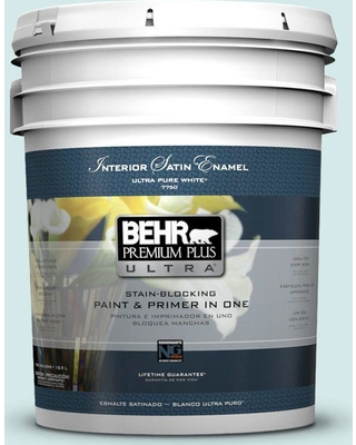 BEHR Premium Plus Ultra 5 gal. #T14-5 Sky Blue Satin Enamel Interior Paint and Primer in One