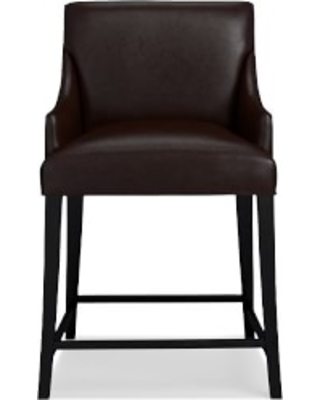 Belvedere Dining Counter Stool, Italian Distressed Leather, Truffle, Ebony Leg