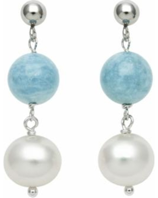 Sterling Silver Freshwater Cultured Pearl and Aquamarine Bead Linear Drop Earrings, Women's, Blue