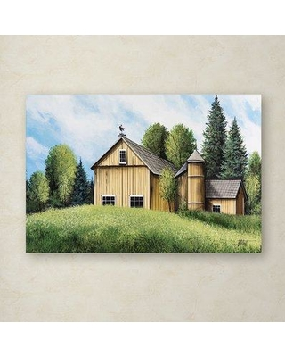 """Trademark Art 'Yellow Barn Summer' Print on Wrapped Canvas ALI12974-C Size: 30"""" H x 47"""" W"""