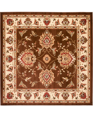 """6'7""""X6'7"""" Floral Loomed Square Area Rug Brown/Ivory - Safavieh"""
