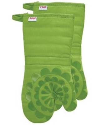 T-fal Textiles 2 Pack Print Silicone Medallion Cotton Twill Oven Mitt Set (Green)
