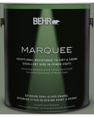 BEHR MARQUEE 1 gal. #ICC-77 Sage Green Semi-Gloss Enamel Exterior Paint and Primer in One