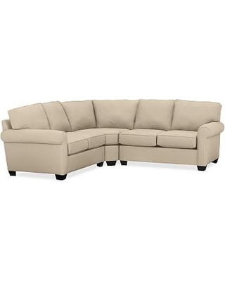 Buchanan Roll Arm Upholstered Curved 3-Piece L-Shaped Sectional, Polyester Wrapped Cushions, Performance Everydayvelvet(TM) Buckwheat
