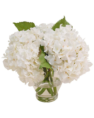 """12"""" Hydrangea in Vase - Faux - The French Bee - White"""