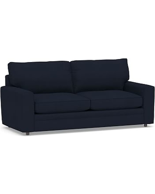 """Pearce Square Arm Upholstered Grand Sofa 80"""", Down Blend Wrapped Cushions, Twill Cadet Navy"""