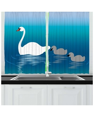Deals On 2 Piece Swan Cartoon Animal Illustration Of Mother And Baby Aquatic Birds Swimming On Lake Print Kitchen Curtain Set East Urban Home