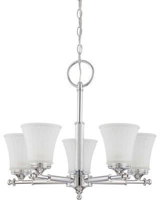 Glomar 5-Light Polished Chrome Chandelier with Frosted Etched Glass Shade