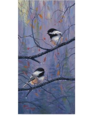 "Trademark Art 'Chickadees Small' Oil Painting Print on Wrapped Canvas ALI37942-CGG Size: 19"" H x 10"" W x 2"" D"