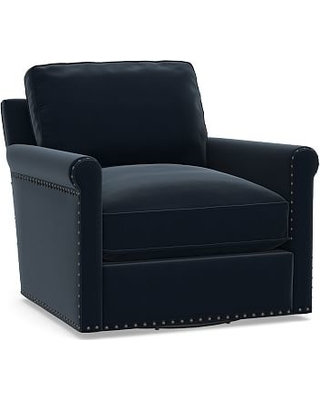 Tyler Roll Arm Upholstered Swivel Armchair with Bronze Nailheads, Down Blend Wrapped Cushions, Performance Plush Velvet Navy
