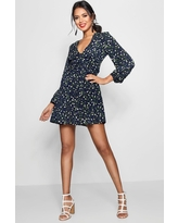 Womens Ruched Waist Floral Tea Dress - Navy - 12