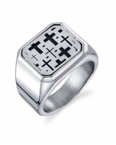 He Rocks Square Cross Ring in Stainless Steel - Silver