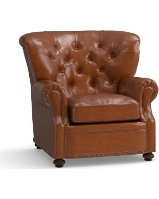 Lansing Leather Armchair, Polyester Wrapped Cushions, Legacy Dark Caramel