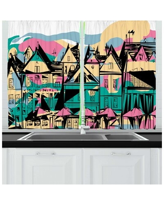 2 Piece Amsterdam Hand Drawn Streets and Houses of Netherlands Kitchen Curtain Set East Urban Home