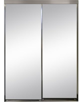 Impact Plus 36 in. x 96 in. Polished Edge Mirror Framed with Gasket Interior Closet Sliding Door with Chrome Trim