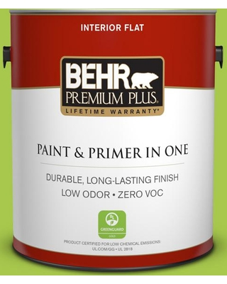 BEHR Premium Plus 1 gal. #420B-5 Sweet Midori Flat Low Odor Interior Paint and Primer in One