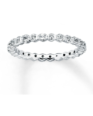 Stackable Ring White Topaz & Diamonds Sterling Silver