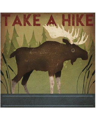 "Millwood Pines 'Take a Hike Moose' Graphic Art Print on Wrapped Canvas MLWP4719 Size: 18"" H x 18"" W x 2"" D"