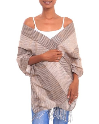 Handwoven Cotton Shawl in Beige and Brown from Bali