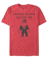 Monopoly Men's Checking My Bank Account Like Short Sleeve T-Shirt - Red Heathe