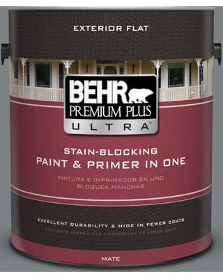 BEHR Premium Plus Ultra 1 gal. #PPU26-03 Legendary Gray Flat Exterior Paint and Primer in One