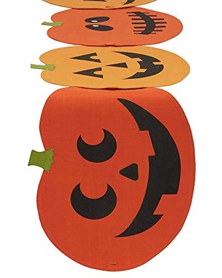 DII Halloween Fun & Decorative Tabletop, 13x60 Table Runner to Placemat Set, Jack O' Lantern 4 Count