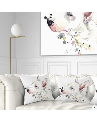 Designart 'Bull Terrier Dog Watercolor' Animal Throw Pillow (Square - 16 in. x 16 in. - Small)