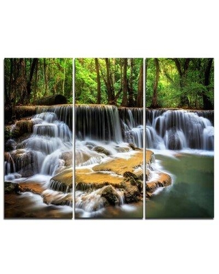 Great Prices For Design Art Level Six Of Huai Mae Kamin Waterfall Multi Piece Image On Wrapped Canvas Graphic Art Print On Canvas Canvas Fabric In Brown Green