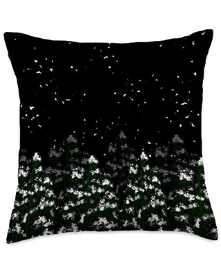 BoredKoalas Nature Throw Pillow Gifts Snow Pine Trees Nightsky Star Cool Nature Lover Hiking Gift Throw Pillow, 18x18, Multicolor