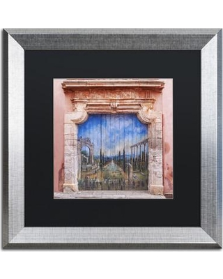 """Trademark Art 'Old Painted Door' by Michael Blanchette Framed Photographic Print ALI2406-S1 Size: 11"""" H x 11"""" W x 0.5"""" D Matte Color: Black"""