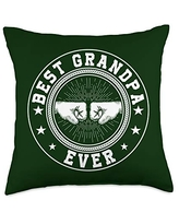 Father's Day Gift Co. Best Grandpa Ever Retro Fist Bump Papa Father's Day Gift Throw Pillow, 18x18, Multicolor