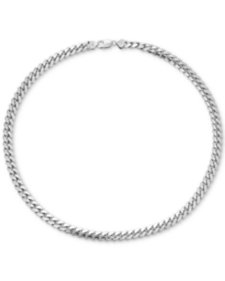 """Men's Cuban Link 22"""" Chain Necklace in Sterling Silver"""