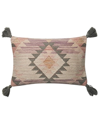 """Loloi P0646 Pillow Cover with Down Fill, 13"""" x 21"""", Pink/Multi"""
