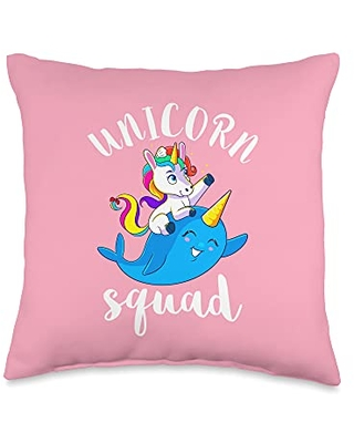 Unicorn Squad Goals Gift Store Squad Narwhal Cute Unicorns Birthday Party Girls Throw Pillow, 16x16, Multicolor