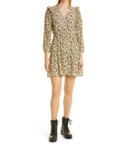 ba & sh Grazie Floral Long Sleeve A-Line Dress, Size Large in Beige at Nordstrom