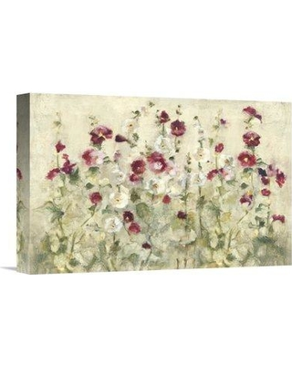 """East Urban Home 'Hollyhocks Row Cool' Print EUHE3551 Size: 12"""" H x 18"""" W Format: Wrapped Canvas"""