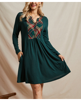Suzanne Betro Dresses Women's Casual Dresses 102GREEN/GREEN - Green & Red Plaid Contrast Pocket Shift Dress - Women & Plus