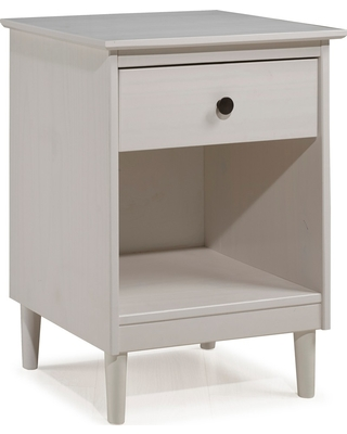4d1790199d05 Classic Mid Century Modern 1 Drawer Nightstand Side Table White - Saracina  Home