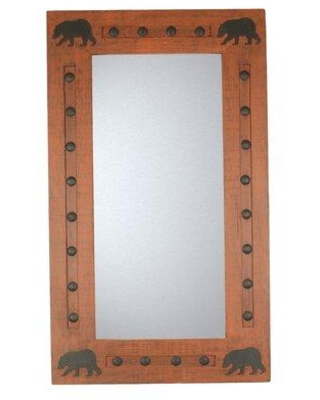 Millwood Pines Leftwich Bears Wild Rustic Accent Mirror X113899356