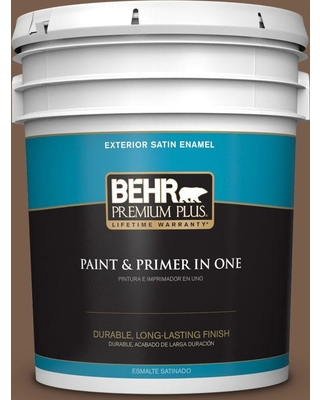 BEHR PREMIUM PLUS 5 gal. #250F-7 Melted Chocolate Satin Enamel Exterior Paint and Primer in One
