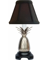 Wethersfield Pineapple Pewter Table Lamp with Black Silk Shade