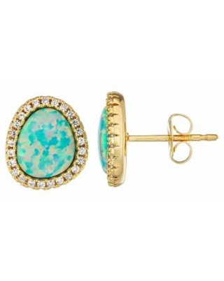 14K Yellow Gold over Sterling Silver Lab Created Opal & White Sapphire Earrings, Women's, Blue