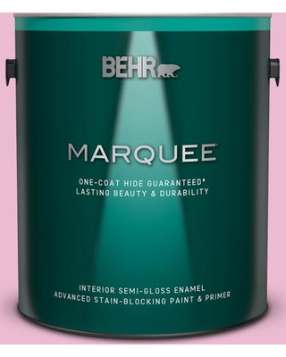 BEHR MARQUEE 1 gal. #P130-2 Pink Innocence Semi-Gloss Enamel Interior Paint and Primer in One