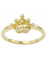 Junior Jewels Kids' 14k Gold Over Silver Cubic Zirconia Crown Ring, Girl's, Size: 3, White